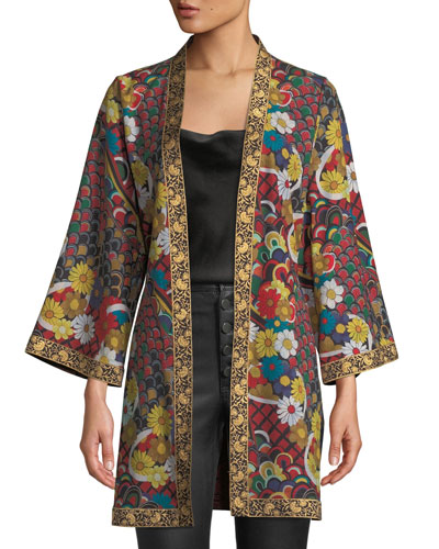 Lynn Short Side-Slit Kimono with Belt