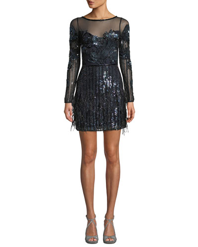 Bailey Beaded Long-Sleeve Bateau-Neck Illusion Mini Dress