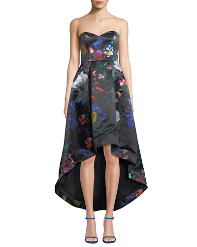 Roxanne Strapless High-Low Floral Satin Dress