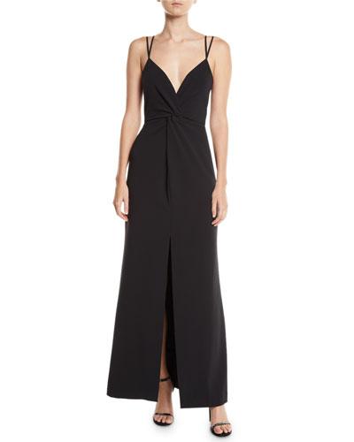 Aiden Stretch Crepe Center-Slit Dress