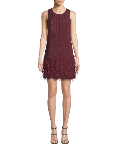 Allegra Beaded Mini Dress with Feather Hem