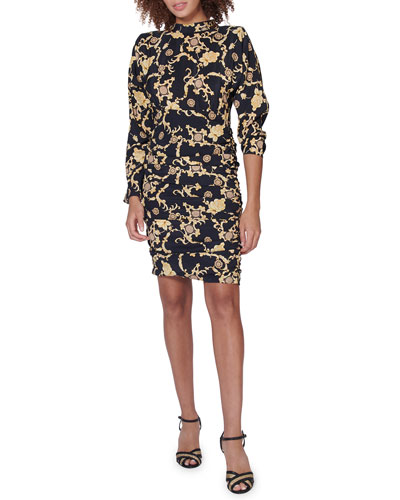 Amile Ruched Silk Long-Sleeve Dress