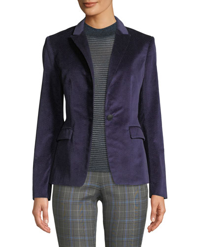 Lexington Velvet Single-Button Blazer