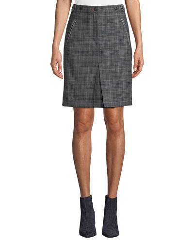 Meki Check Wool Pencil Skirt