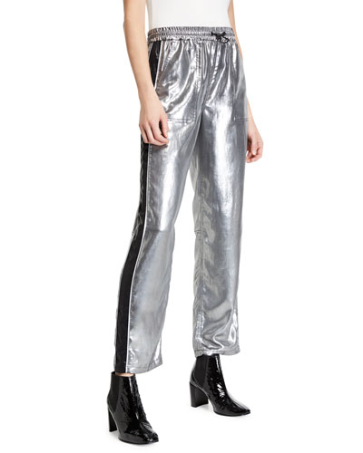 Sloane Metallic Side-Stripe Track Pants