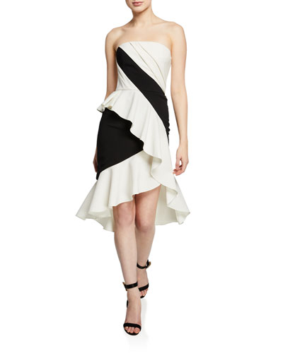 Colorblocked Strapless High-Low Cocktail Dress