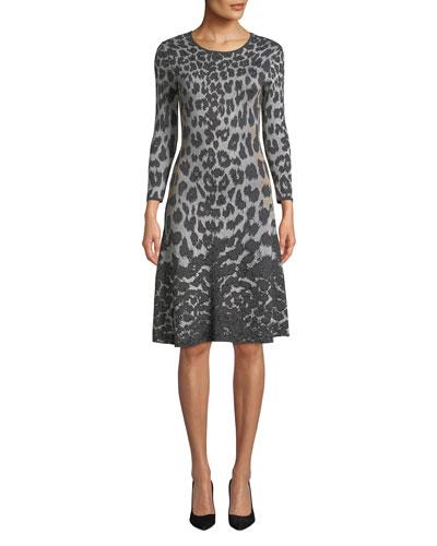 Flare Scoop-Neck 3/4-Sleeve Knee-Length Animal-Printed Dress