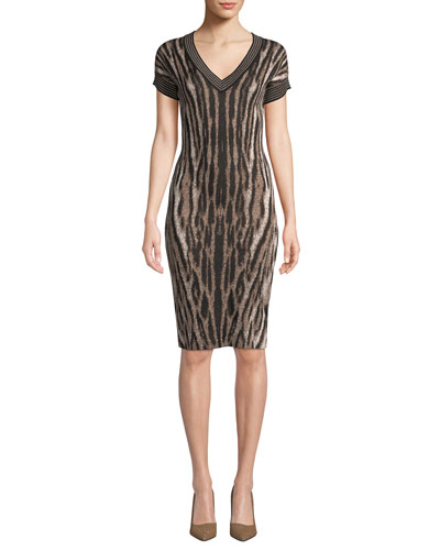 e36c4c66172 Quick Look. NK32 Naeem Khan · V-Neck Short-Sleeve Animal-Print Cocktail  Dress