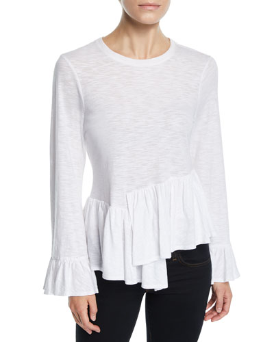 Aziza Bell-Sleeve Asymmetrical Cotton Top