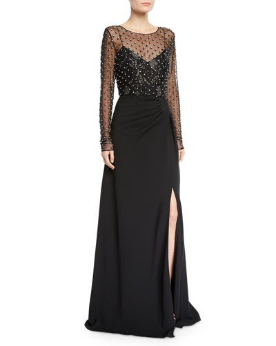 Illusion Long-Sleeve Crystal-Trim Gown