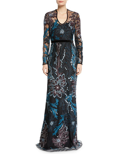 Long-Sleeve Floral Embroidered Gown