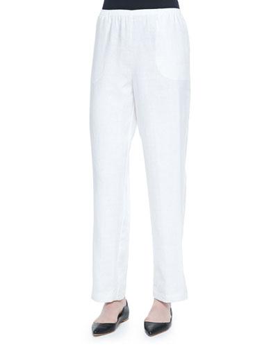 Straight-Leg Lined Linen Pants