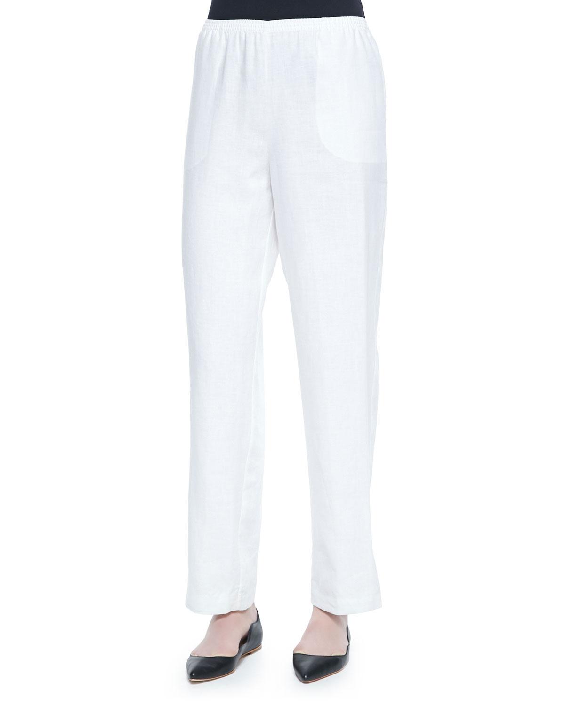 GO SILK Straight-Leg Lined Linen Pants in White
