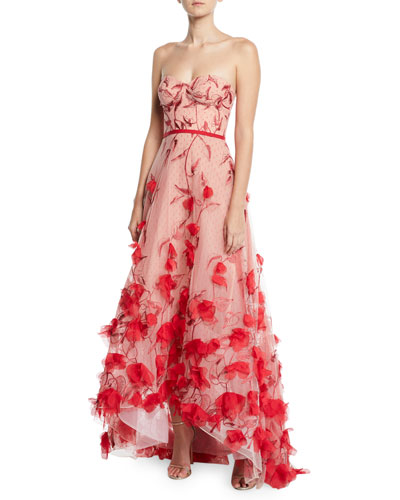 Quick Look. Marchesa Notte · Strapless 3D Floral Embroidered High-Low Gown 3a304cf06
