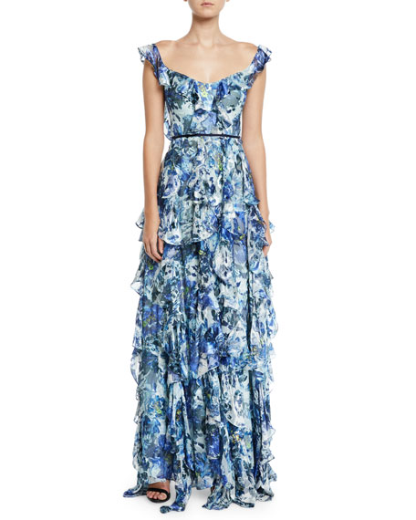 Marchesa Notte Sleeveless Floral-Print Burnout Cascading Ruffle Gown