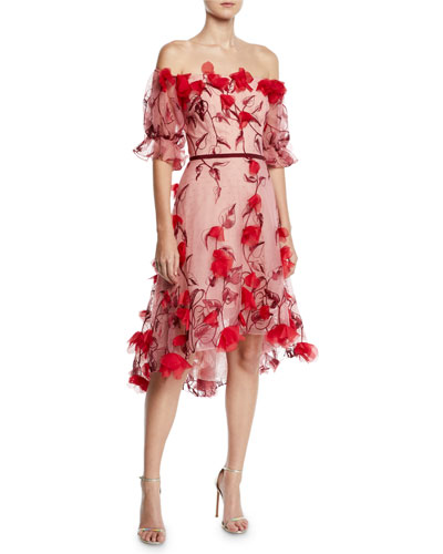 aefb49aa5dc Quick Look. Marchesa Notte · Off-the-Shoulder 3D Floral Embroidered Cocktail  Dress. Available in Red