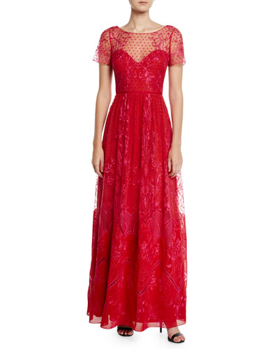2fb0d83fc0 Quick Look. Marchesa Notte · Short-Sleeve Dotted Chiffon Tulle and Guipure  Lace Gown. Available in Red
