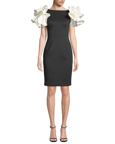 Bateau-Neck Knee-Length Scuba Dress w/ Contrast Puff Sleeves