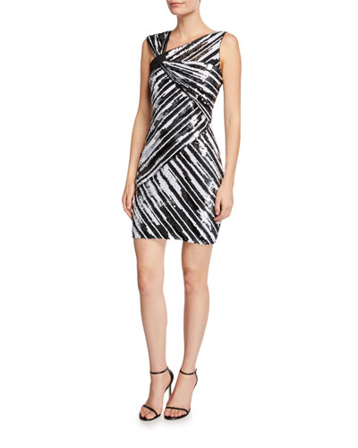 Kensington Sequin Striped Asymmetric Mini Dress