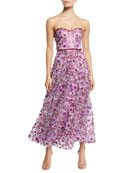 Marchesa Notte Strapless 3D Floral Embroidery Dress