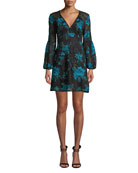 Nanette Lepore Aerial Blouson-Sleeve Floral Lace Mini Dress