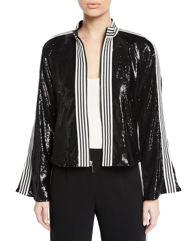 Le Freak Long-Sleeve Sequin Jacket W/ Striped-Trim in Black