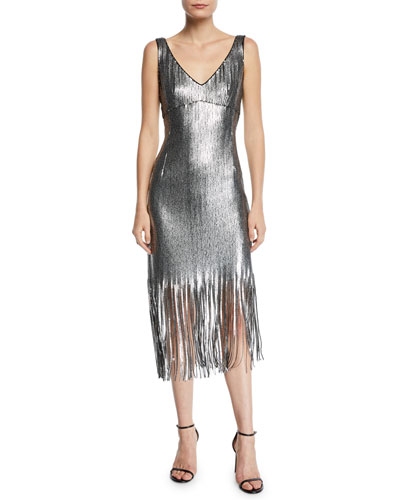 Funkytown Sequin Mid-Length Slip Dress with Fringe
