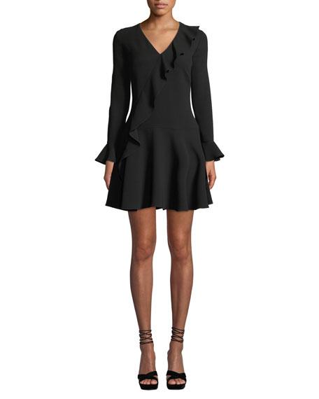 Shoshanna Windham Long-Sleeve Asymmetric-Ruffle Dress