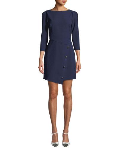 Upton Boat-Neck 3/4-Sleeve Asymmetric Dress w/ Button Skirt