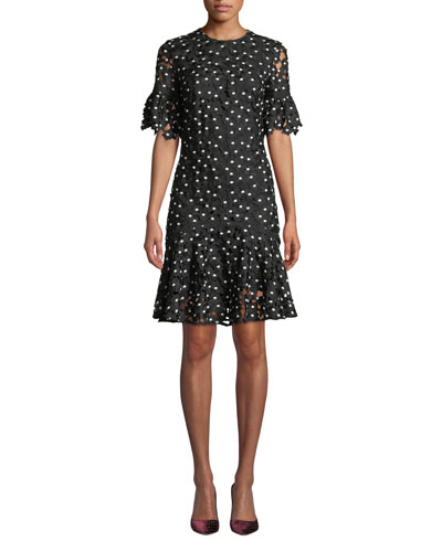 Marisol Ruffle-Trim Floral Lace Dress