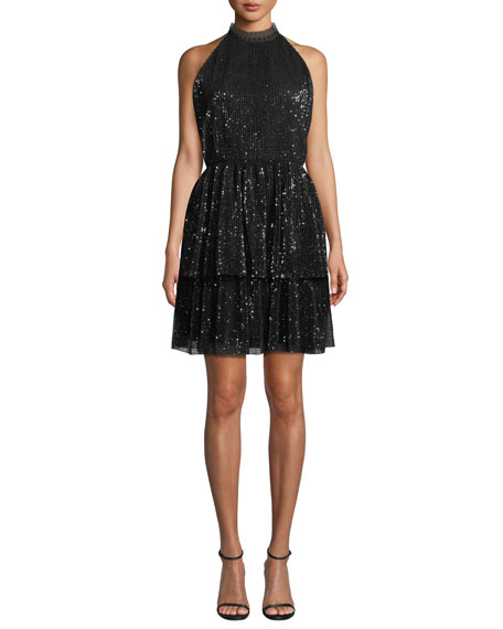 Shoshanna Hollybrook Sequin Halter-Neck Mini Cocktail Dress