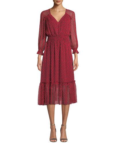 Eden V-Neck Smocked-Waist Silk Dress