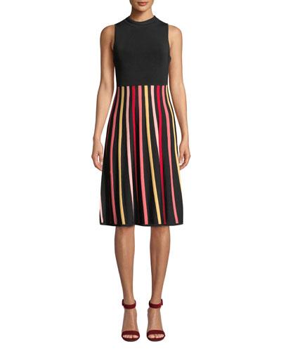 Kendall Sleeveless Crewneck Dress w/ Striped Skirt
