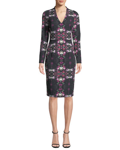 4d790a7e99 Quick Look. Black Halo · Mindy Long-Sleeve Printed Sheath Dress