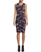 Black Halo Yasmin Sleeveless V-Neck Floral-Printed Shirred Mesh