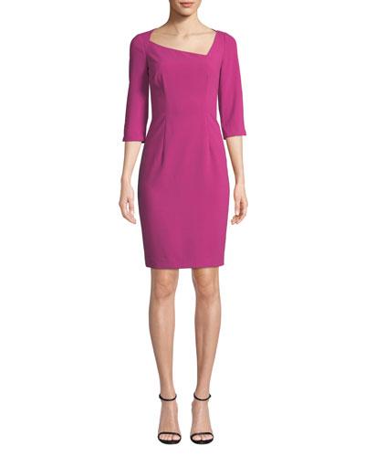 Derek Asymmetric 3/4-Sleeve Sheath Dress