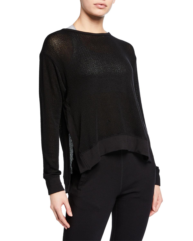Crane Knit Side-Split Pullover Sweatshirt in Black