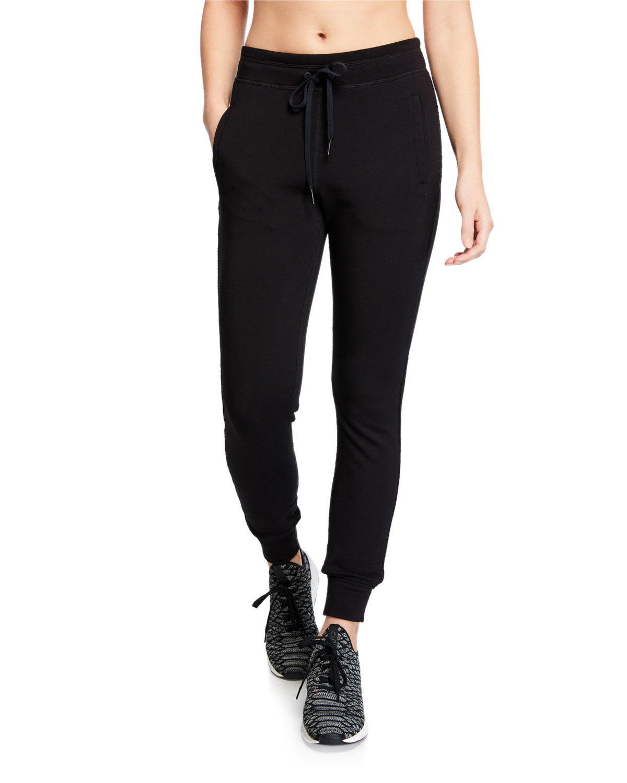 Crane Drawstring Sweatpants W/ Knit Panels in Black