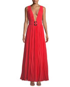 Fame and Partners The Vicente Sleeveless Plunge-Neck Open-Back