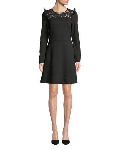 lace yoke ponte long-sleeve dress