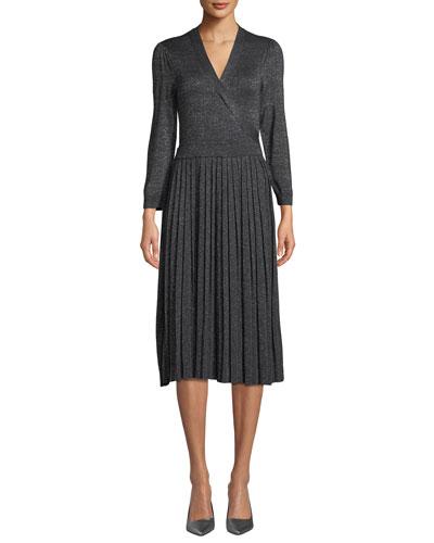 metallic pleated knit wrap dress