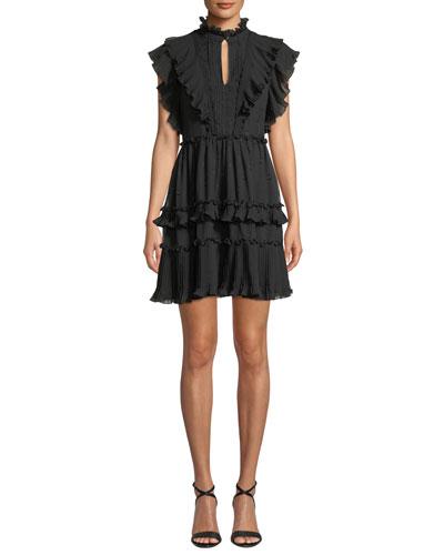 Mock-Neck Cap-Sleeve Devore Bakery Dot Mini Dress w/ Ruffles