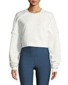 Alo Yoga City Cropped Sweatshirt with Sherpa Trim