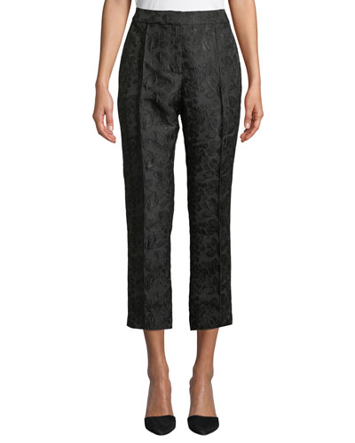 High-Rise Straight-Leg Metallic Jacquard Pants