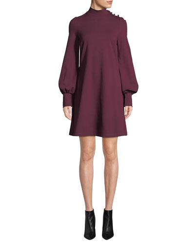 ponte long-sleeve mini dress