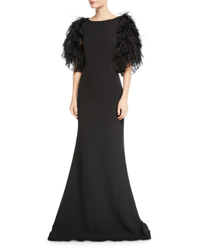 High-Neck Feather Tiered Ruffle-Sleeve Gown