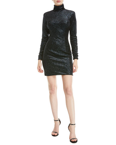 Metallic Knit Turtleneck Dress