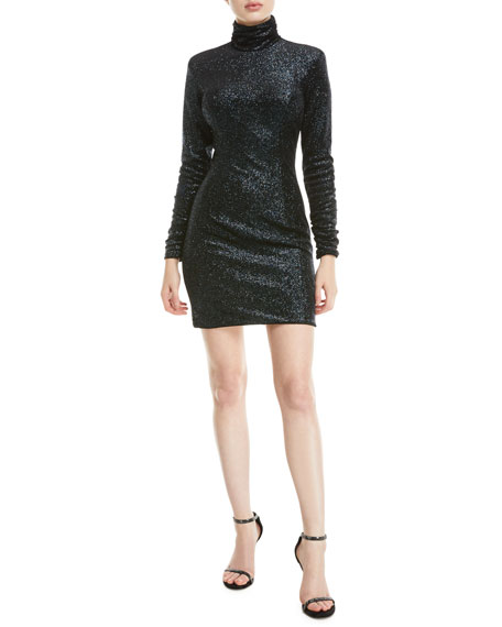 Jovani Metallic Knit Turtleneck Dress