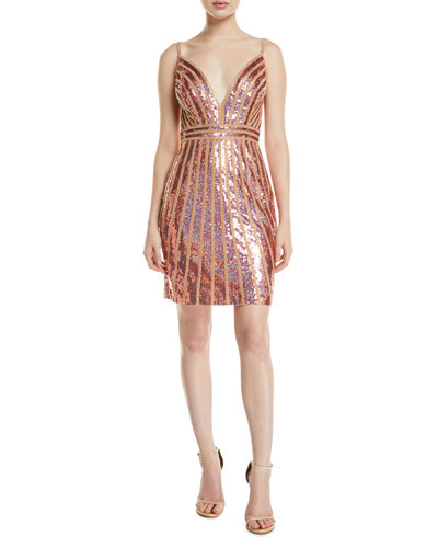 cd85d787c2 Quick Look. Jovani · Striped Sequin V-Neck Mini Dress