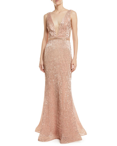 b6c777eda7ae Quick Look. Jovani · Stretch Sequin V-Neck Gown